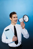 Man with megaphone Royalty Free Stock Photos