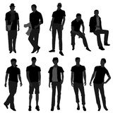 Man Men Male Fashion Shopping Model. A set of male silhouette in fashion style Royalty Free Stock Images