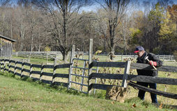 Man mending fence. On rural property Royalty Free Stock Image