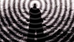 Man-mening, telepati, det tredje ögat och paranormala kapaciteter, yogaexpertis, fasavoodoo, toppen-styrka royaltyfria bilder