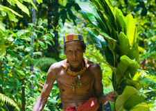 Man Mentawai tribe in the jungle. Royalty Free Stock Photo