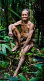 Man Mentawai tribe in the jungle. MENTAWAI PEOPLE, WEST SUMATRA, SIBERUT ISLAND, INDONESIA – 03 OKTOBER 2011: Man Mentawai tribe in the jungle royalty free stock image