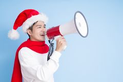 Man with merry christmas Stock Photos