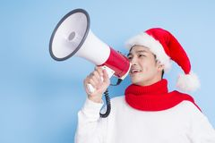 Man with merry christmas Stock Images
