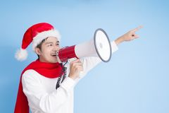 Man with merry christmas Stock Photo