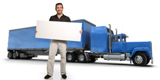 Man with message and truck Stock Photos