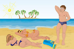 Man met two sunbathing girls on the beach. Vector illustration Stock Photos