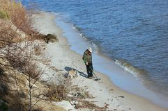 Man with metal detector Stock Image