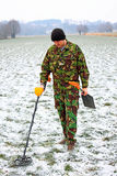 Man with metal detector . Royalty Free Stock Photos