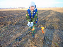 Man with metal detector . Stock Photo