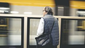 Man on the metro train station. Man on the metro train  station stock images