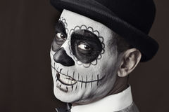 Man with a mexican calaveras makeup Royalty Free Stock Images