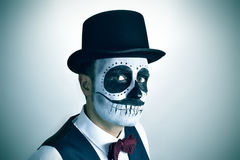 Man with mexican calaveras makeup, vignetted Royalty Free Stock Image