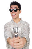 Man with mic isolated Stock Image