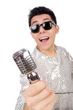 Man with mic isolated Royalty Free Stock Photography