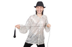Man with mic isolated Royalty Free Stock Photos