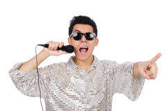 Man with mic isolated Stock Photography