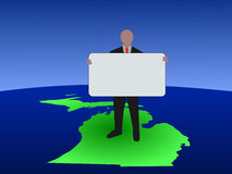 Man on Michigan map with sign Royalty Free Stock Photography