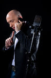 Man with a microphone Stock Photos