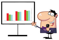Man with microphone. Friendly talk show host man beside a bar graph board Stock Photography