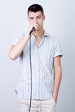 Man with a microphone Royalty Free Stock Image