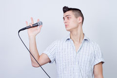 Man with a microphone Stock Photography