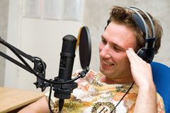 Man with microphone Stock Photos