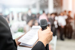 MAN WITH Microphone Stock Photo