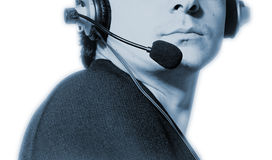 Man with microphone and earphone. Royalty Free Stock Images