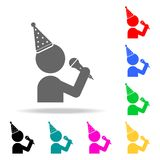 A man with a microphone and a party hat icon. Elements of party multi colored icons. Premium quality graphic design icon. Simple i. Con for websites, web design Royalty Free Stock Images