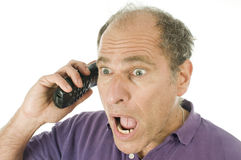 Man middle age emotional telephone Royalty Free Stock Image