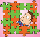 Man in middle of puzzle. A man showing his head up in the middle of a puzzle. eps 8 file Royalty Free Stock Image