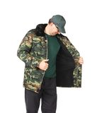 Man in military coat. Royalty Free Stock Images