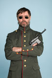 Man military officer with a gun Stock Photos