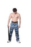 Man in military trousers Royalty Free Stock Photo