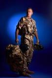 Man with military uniform. Man wearing military uniform - studio shot stock image