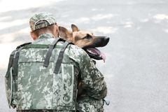 Man in military uniform with German shepherd dog. Outdoors stock photography