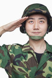 Man in military uniform saluting Stock Photo