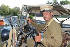 A man in a military uniform of the Second world war Mamayev Kurgan in Volgograd. Stock Image