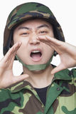 Man in military uniform shouting Royalty Free Stock Photography