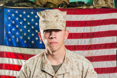 Man in military uniform on USA flag background Royalty Free Stock Photos