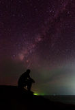 Man and the milky way Royalty Free Stock Images