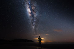 A man with milky way Royalty Free Stock Images