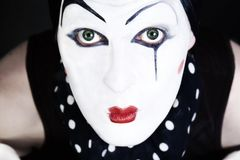 Man mime with blue eyes Stock Photography