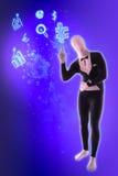 Man mime present business symbols. Blue Stock Photography