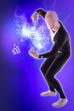 Man mime present business symbols. Blue Royalty Free Stock Photography