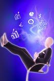 Man mime present business symbols. Blue Royalty Free Stock Photos