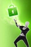 Man mime present Security locks. Green Royalty Free Stock Image