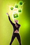 Man mime present Security locks. Green Royalty Free Stock Photography