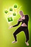 Man mime present Security locks. Green Stock Photo